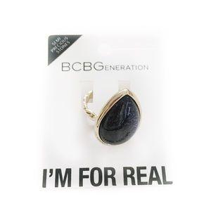 BCBGENERATION RING GALAXY GOLD TONED BLACK BLUE
